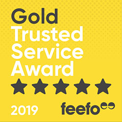Lifetime Pet Cover's Gold Trusted Service Award badge from Feefo for 2019